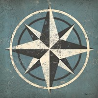 Nautical Compass Blue Fine Art Print