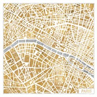 Gilded Paris Map Fine Art Print