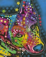 Colorful Dog on Blue Fine Art Print