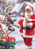 Santa Feeding Reindeer Fine Art Print