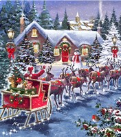Santa And Sleigh Framed Print