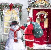 Santa And Snowman 2 Fine Art Print
