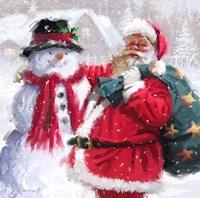 Santa With Snowman Fine Art Print