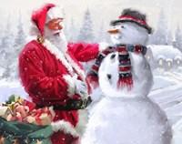 Santa And Snowman 3 Fine Art Print