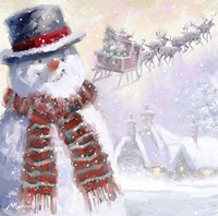 Snowman And Sleigh Fine Art Print
