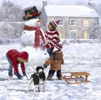 Making Snowman 2 Fine Art Print