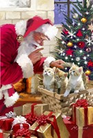 Santa and kittens Fine Art Print