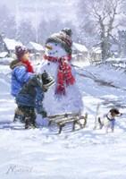 Kids And Snowman Fine Art Print