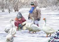 Feeding Geese Fine Art Print