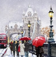Tower Bridge In Snow Framed Print