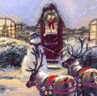 Reindeer And Snowman 2 Fine Art Print