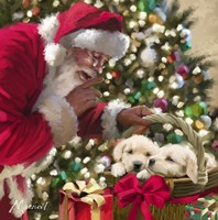 Santa And Puppies Fine Art Print