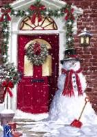 Red Door Snowman Fine Art Print