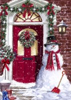 Red Door Snowman Fine Art Print