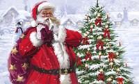 Santa With Christmas Village Fine Art Print