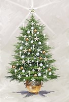 Silver Gold Xmas Tree Fine Art Print