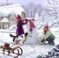 Building Snowman Fine Art Print