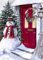 Snowman Outside Red Door Framed Print