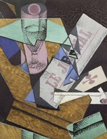 Glass and Newspaper, 1916 by Juan Gris, 1916 - various sizes