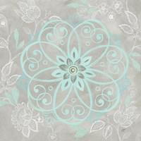 Jacobean Damask Blue/Gray I Fine Art Print