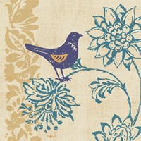 Blue Indigo Bird I Fine Art Print