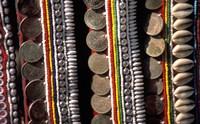Traditional Akha fabric and clothing displayed as a souvenir, Burma Fine Art Print