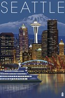 Seattle At Night Fine Art Print