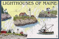 Lighthouses Of Maine by Lantern Press - various sizes