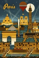 Paris Evening And Balloon Framed Print