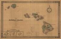 Hawaiian Islands Map Fine Art Print