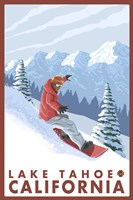Lake Tahoe Moutain Snowboard by Lantern Press - various sizes