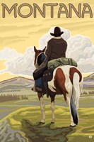 Montana Cowboy On Hourse Fine Art Print