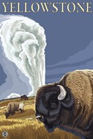 Yellowstone Rams In Field Fine Art Print