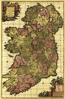 Old Map of Ireland Fine Art Print