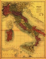 Map of Italy Fine Art Print