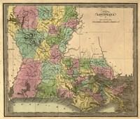 Map of Louisiana Fine Art Print