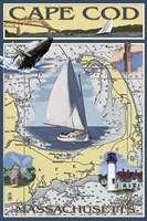 Cape Cod Massachusetts Sailboat Ad by Lantern Press - various sizes - $43.99