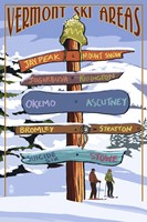 Vermont Ski Areas Signs Fine Art Print