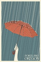Portland Oregon Umbrella In Rain Framed Print