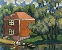 Landscape With Red House And Woman Washing, 1908 Fine Art Print