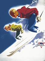 Jantzen by Binder Man and Women, Ski 1947 Fine Art Print
