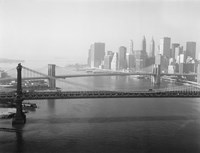 Brooklyn Bridge and Manhattan Bridge Aerial by Print Collection - various sizes, FulcrumGallery.com brand