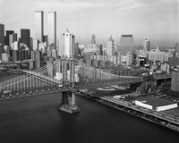 Manhattan Bridge with Twin Towers behind Fine Art Print
