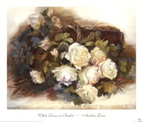 "White Roses in Basket by Andrea Dern - 22"" x 19"""