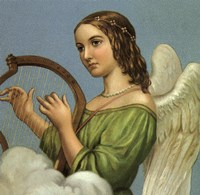 Angel With Harp Fine Art Print