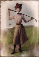 Vintage Lady Golfer Fine Art Print