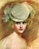 Lady In Green Hat Fine Art Print