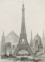La Tour Eiffel - Hauteur Comparee by Vintage Apple Collection - various sizes
