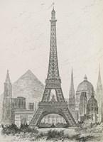 La Tour Eiffel - Hauteur Comparee Fine Art Print
