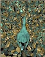 Gold Teal Peacock Fine Art Print